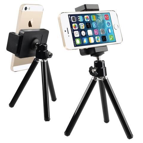 INSTEN Black Universal Tripod Phone Holder for iPhone XS Max XR/ Samsung Galaxy S10 Plus/ S10e/ LG/ HTC