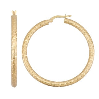 Gioelli 14k Yellow Gold Textured Twist Hoop Earrings