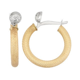 Gioelli 14k Two-tone Gold Textured Hoop Earrings