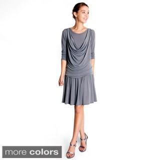 Evanese Women's Short Cowlneck Tank 2-piece Dress