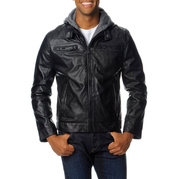 Excelled Men's Faux Leather Jacket with Removable Hood and Bib ...