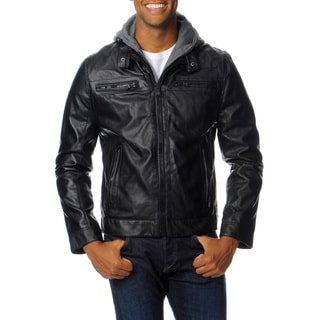 Excelled Men's Faux Leather Jacket with Removable Hood and Bib