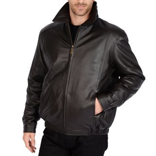 Excelled Men's Black Lamb Leather Big and Tall Bomber Jacket