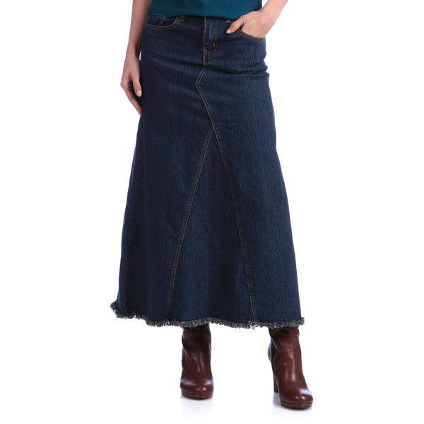 Tabeez Women's Long Denim Skirt - Free Shipping Today - Overstock ...