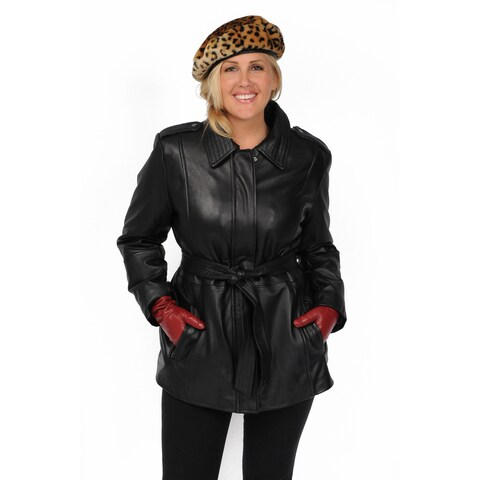 Excelled Women's Plus Size Black Lambskin Hipster Jacket