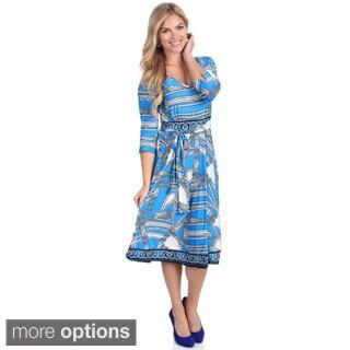 La Cera Women's Blue Geometric Print 3/4-sleeve V-Neck Dress