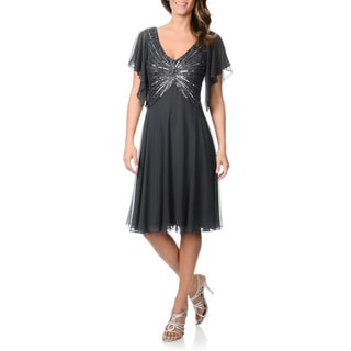 J Laxmi Women's Sequined Flutter Sleeve Cocktail Dress