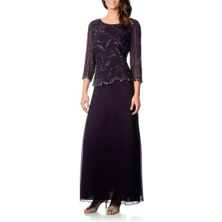 J Laxmi Women's Plum Shadow Mock 2-piece Formal Dress (Option: 12)