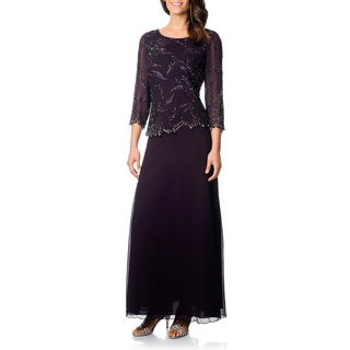 J Laxmi Women's Plum Shadow Mock 2-piece Formal Dress