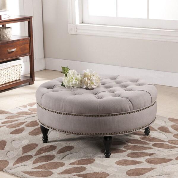 Baxton Studio Palfrey Beige Linen Modern Tufted Ottoman
