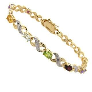Pretty Plus 14k Gold Overlay Multi-gemstone and Diamond Accent Bracelet