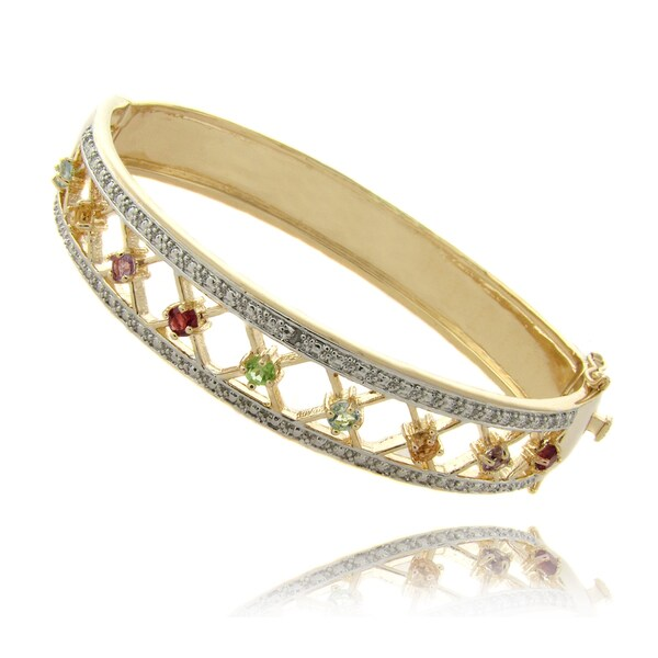Pretty Plus Gold Overlay Multi-gemstone and Diamond Accent Bracelet