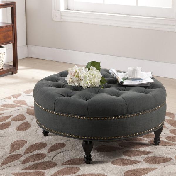 Baxton Studio Palfrey Gray Linen Modern Tufted Ottoman