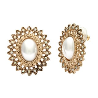 Alexa Starr Vintage Faux Pearl and Filigree Button Earrings