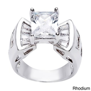 Simon Frank 4.69ct. Fancy Emerald Cut CZ Engagement Ring