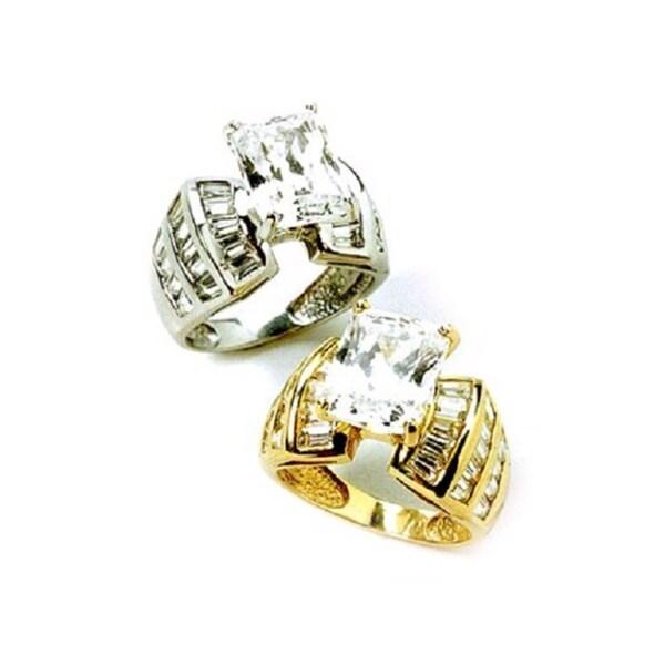 Simon Frank 4.69ct. Fancy Emerald Cut CZ Engagement Ring