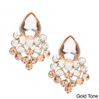 Alexa Starr Lucite Rhinestone Teardrop Button Earrings