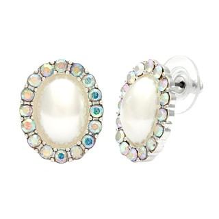 Alexa Starr Faux Pearl Rhinestone Halo Button Earrings