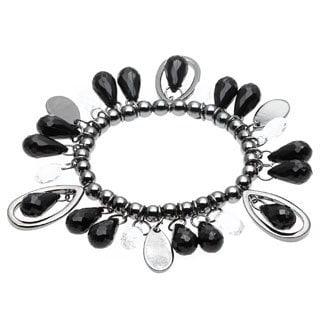 Alexa Starr Teardrop Lucite/ Hematite Beads Faceted Stretch Bracelet