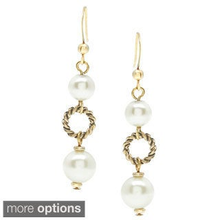 Alexa Starr Burnished Metal and Faux Pearl Stacked Earrings