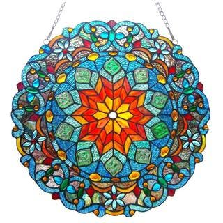 Chloe Tiffany Style Round Window Panel|https://ak1.ostkcdn.com/images/products/8463143/Tiffany-Style-Round-Design-Stained-Glass-Window-Panel-P15754829.jpg?impolicy=medium