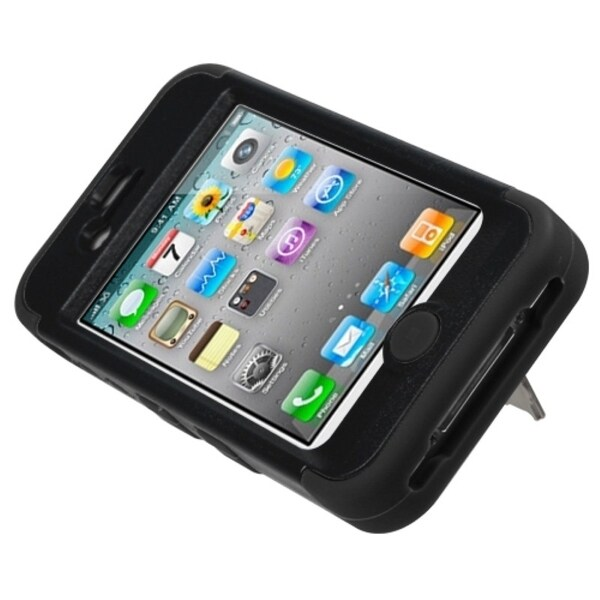 INSTEN Natural Black/ Black TUFF Hybrid Phone Case Cover for Apple iPhone 4/ 4S