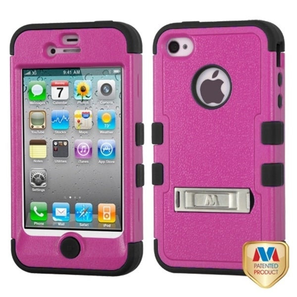 INSTEN Natural Hot Pink/ Black TUFF Hybrid Phone Case Cover for Apple iPhone 4/ 4S