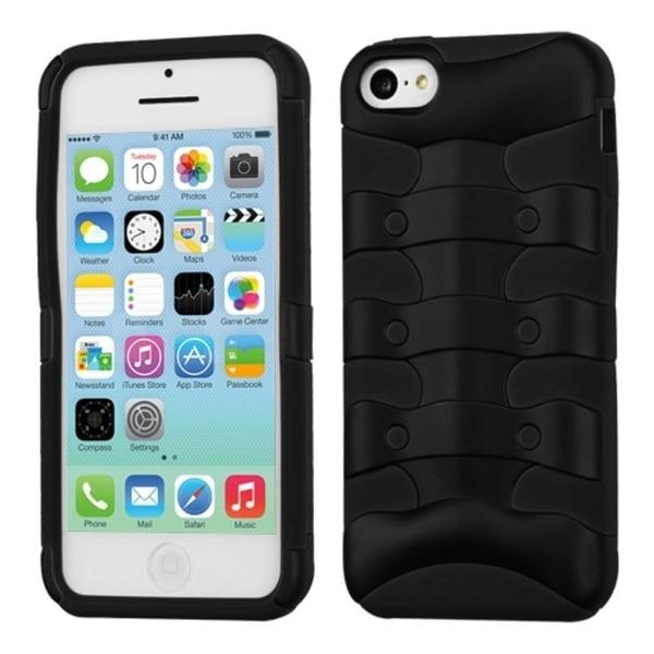 INSTEN Rubberized Black/ Black Ribcage Hybrid Phone Case Cover for Apple iPhone 5C