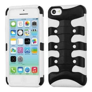 INSTEN Black/ Solid White Ribcage Hybrid Phone Case Cover for Apple iPhone 5 / 5C / 5S / SE