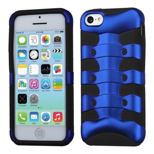 INSTEN Dark Blue/ Black Ribcage Hybrid Phone Case Cover for Apple iPhone 5C