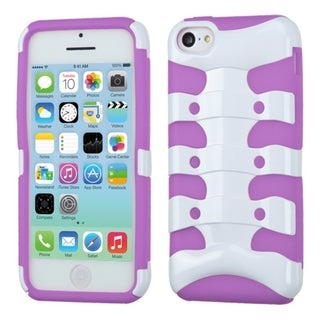 INSTEN Solid Ivory White/ Purple Ribcage Phone Case Cover for Apple iPhone 5 / 5C / 5S / SE