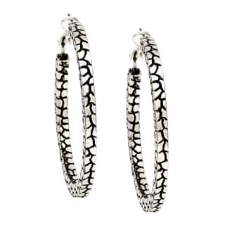 Alexa Starr Silvertone Animal Print Texture Hoop Earrings