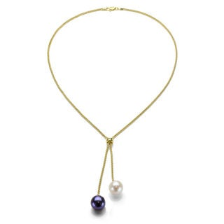 DaVonna 18K Gold over Silver 9-10mm White and Black Pearl Lariat Y Necklace 17""
