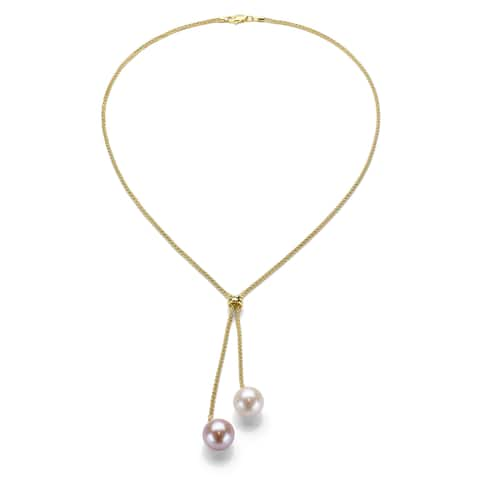DaVonna Gold over Silver White and Pink Pearl Lariat Necklace (9-10 mm)