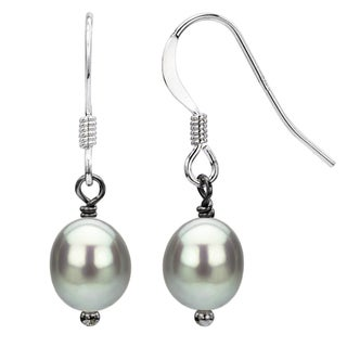 DaVonna Sterling Silver Grey Freshwater Pearl Dangle Hook Earring (7-12 mm)