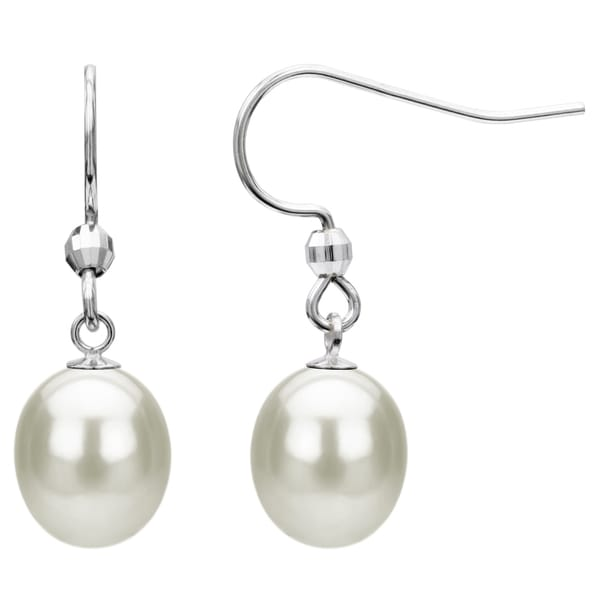 Sterling Silver White Freshwater Pearl Dangle Earring (7-12 mm)