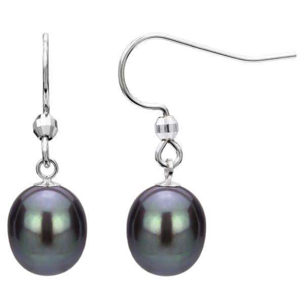 Sterling Silver Black Freshwater Pearl Dangle Earring 7 12 Mm