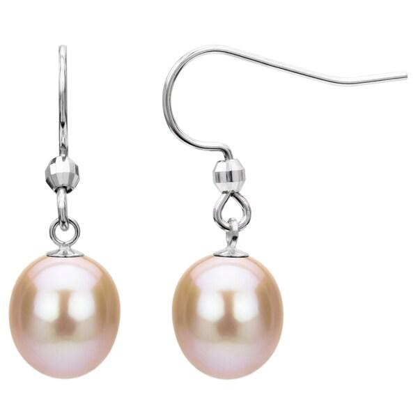 Sterling Silver Pink Freshwater Pearl Dangle Earring (7-12 mm)