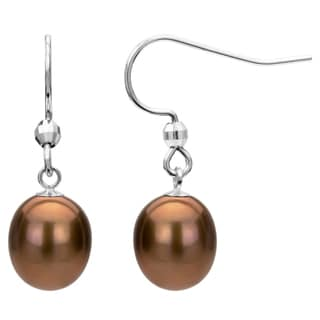 Sterling Silver Brown Freshwater Pearl Dangle Earring (7-12 mm)