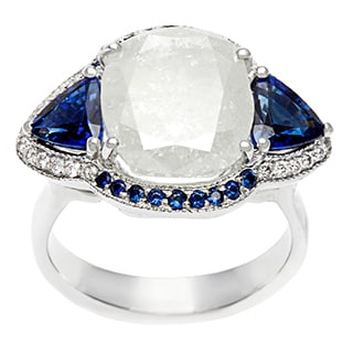 Pre-owned 18k White Gold Sapphire and 6 1/2ct TDW Diamond Estate Ring (I-J, I3)