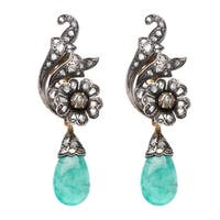 Pre-owned 18k Yellow Gold and Silver 1ct TDW Diamond and Emerald Antique Estate Earrings (L-M, I2-I3)