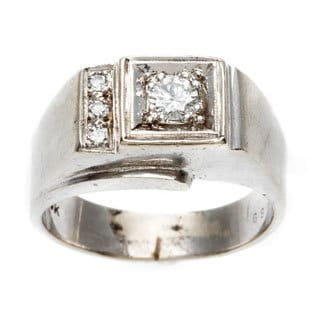Pre-owned 14k White Gold 1/3ct TDW Diamond 1950's Ring (G-H, VS1-VS2)