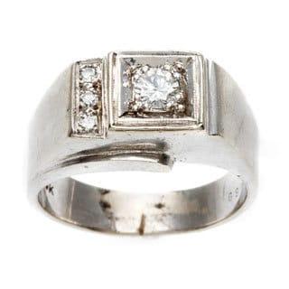 Pre-owned 14k White Gold 1/3ct TDW Diamond 1950's Ring (G-H, VS1-VS2)