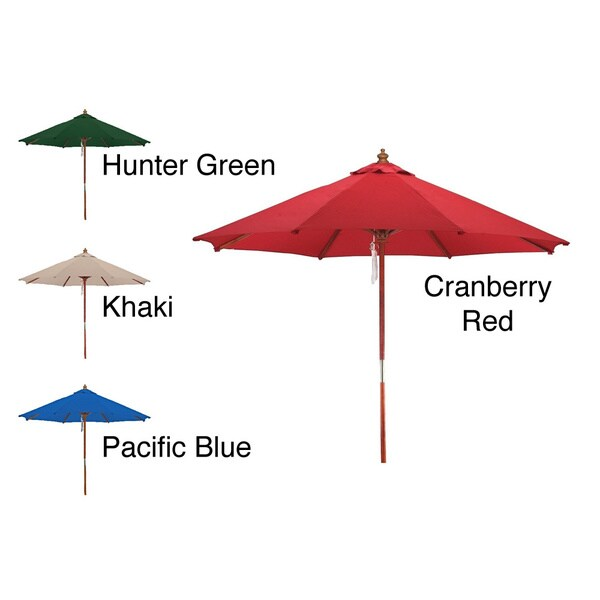 Premium Spun Polyester 13 Foot Wood Patio Market Umbrella