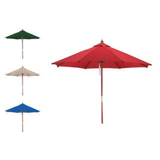 Premium Spun Poly 13-foot Wood Patio Market Umbrella
