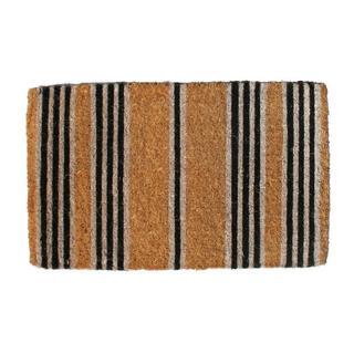 Outdoor Coconut Fiber Black Stripes Door Mat (4' x 1'6)