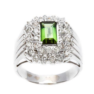 Pre-owned 14k White Gold 1/2 ct TDW Green Tourmaline Estate Ring (G-H, SI1-SI2)
