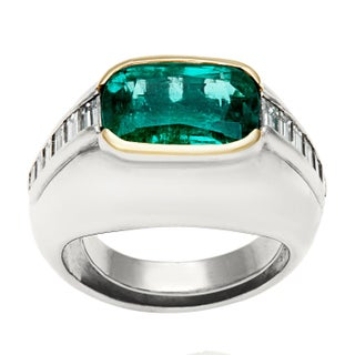 Pre-owned Platinum 3/5ct TDW Emerald Cocktail Ring (G-H, VS1-VS2)