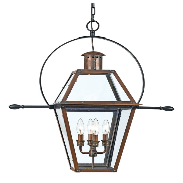 outdoor hanging lantern lights progress quoizel rue de royal 4light aged copper outdoor hanging lantern shop
