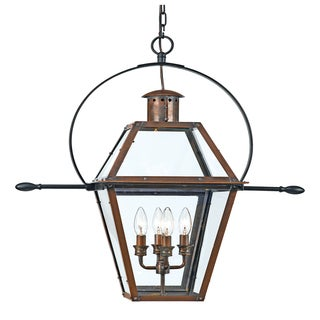 Quoizel Rue De Royal 4-light Aged Copper Outdoor Hanging Lantern